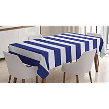 cobalt blue table l amazon com striped tablecloth by ambesonne nautical marine style