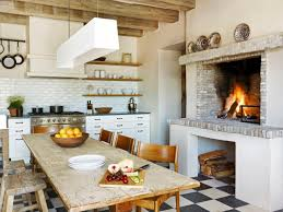 design farmhouse kitchen with faux brick fireplace white subway