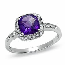 amethyst diamond rings images Cushion cut amethyst and diamond accent engagement ring in 14k jpg