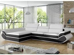 canap orleans canapé angle gauche convertible simili blanc noir orleans black