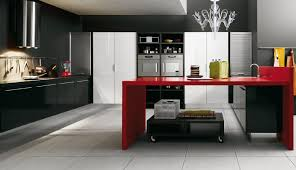Modular Kitchen Island Living Black Laminated Wooden Kitchen Island With Red Stained