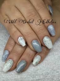 silver and white snowflake gel nails glitter ballerina nails