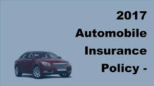 2017 automobile insurance policy canadian car insurance