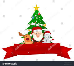 santa claus reindeer snowman christmas tree stock vector 145491808
