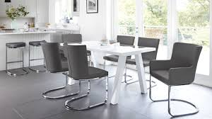 Grey Dining Table Chairs Modern 6 Seater White Gloss Dining Table Set Uk