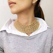 gold metal choker necklace images Chunky gold metal choker necklace jpg
