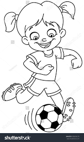 outlined young playing soccer vector stock vector 583436176