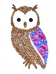 owl gemstones feng shui symbol mosaic concept u2014 stock photo