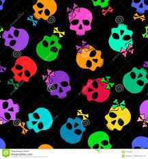 seamless pattern of funny cartoon skulls royalty free stock