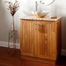 bathroom teak wood vanity cabinet with storage and vessel sink
