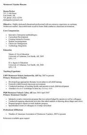 Faculty Resume Sample Faculty Resume Samples Montessori Teachers Resume With Montessori