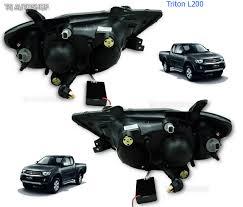 led black head lamp lights projector fit mitsubishi l200 triton
