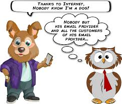 clipart a dog and an owl about email privacy