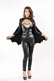 Swat Halloween Costumes Women Black Leather Long Sleeves Cloak Corset Superhero Costume