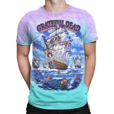 grateful dead ship of fools tie dye t shirt tee liquid blue