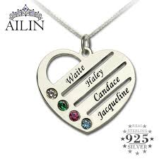 personalized birthstone jewelry personalized family necklace necklace with kids names engraved