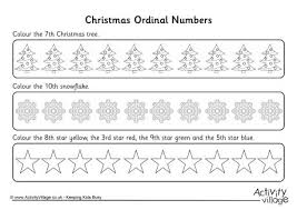 ordinal numbers worksheet christmas 3