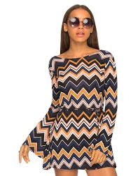 motel dresses suhaila flared sleeve dress in chevron brown by motel at motel