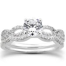 ring sets intertwined matching diamond engagement wedding ring set