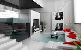 indoor modern interior design apartment with room kitchen and