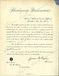 the thanksgiving day proclamation in arkansas was issued by