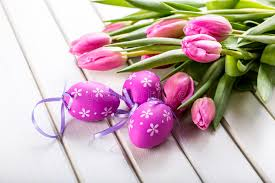 happy easter decorations happy easter multicolored tulips and easter eggs and