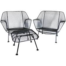 Wrought Iron Patio Furniture For Sale by Pair Of Woodard Wrought Iron With Mesh Lounge Chairs At 1stdibs