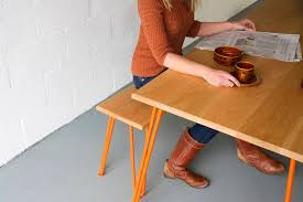 industrial hairpin leg desk dining set with industrial hairpin legs in oak by cord industries