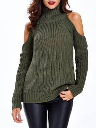 cold shoulder sweaters textured cold shoulder sweater in army green one size
