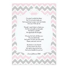 gift card baby shower poem pink crown baby shower thank you note with poem card zazzle