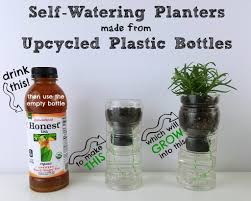 self watering herb planters made from upcycled plastic bottles