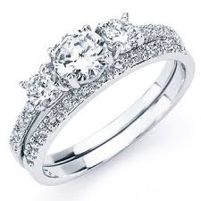 set ring oliveti sterling silver white cubic zirconia bridal style
