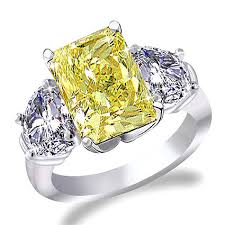 canary yellow engagement ring platinum canary yellow and half moon ring in