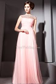 for less a line chiffon pearl pink sleeveless empire rhinestone