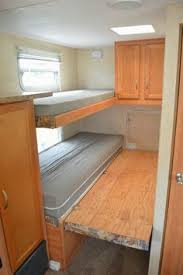 Rv Bed Frame Add Some Hinges And A Fold Out Wooden Bed Frame To The Bottom Bunk