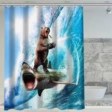 contemporary design shark shower curtain charming idea h p 235 hot bear riding custom waterproof
