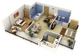 Two  Bedroom ApartmentHouse Plans Architecture  Design - 3d architect home design
