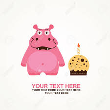 cute happy birthday card with fun hippo royalty free cliparts