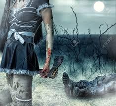 halloween creepy background halloween horror concept woman zombie holding axe in hands
