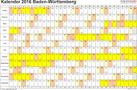 Ferienkalender 2018 Bw Kalender 2016 Baden Württemberg Ferien Feiertage Excel Vorlagen