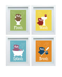 Bathroom Art Ideas For Walls by Bathroom Rules Art Kids Bathroom Decor Owl Wall Decor Set Of