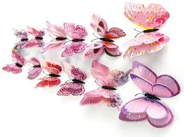 3d pink butterfly wall stickers decor art 12pcs 182718897269 3d pink butterfly wall stickers decor art 12pcs