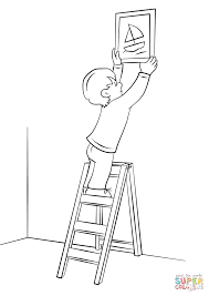 boy hanging picture on a wall with ladder coloring page free