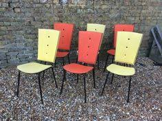 Yellow Retro Kitchen Chairs - pair of 1960 u0027s red faux leather and chrome salon chairs barber