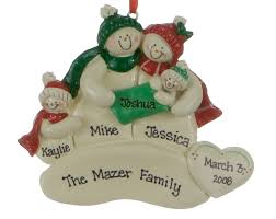 snowman family of 3 with new baby personalized ornament