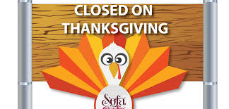 we will be closed on thanksgiving day sofá café