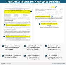 examples of a resume for a job excellent resume for a mid level employee business insider resume mid level