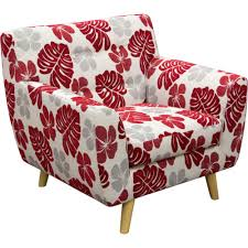 Retro Accent Chair Patterned Accent Chair Floral Fabric