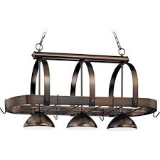 Antique Island Lighting Volume Lighting 3 Light Antique Bronze Pot Rack Pendant V3023 79