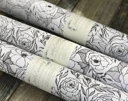 black matte wrapping paper floral gift wrap etsy